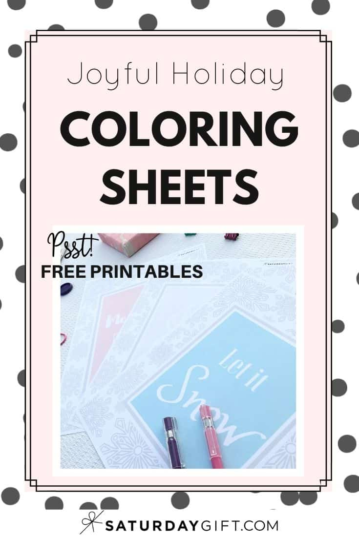 Want to do some relaxing coloring? Here are some joyful holiday coloring sheets for relaxing, mindful and feel-good coloring.. Free printables with sayings: Let it snow, Merry & Bright and Joy to the World.