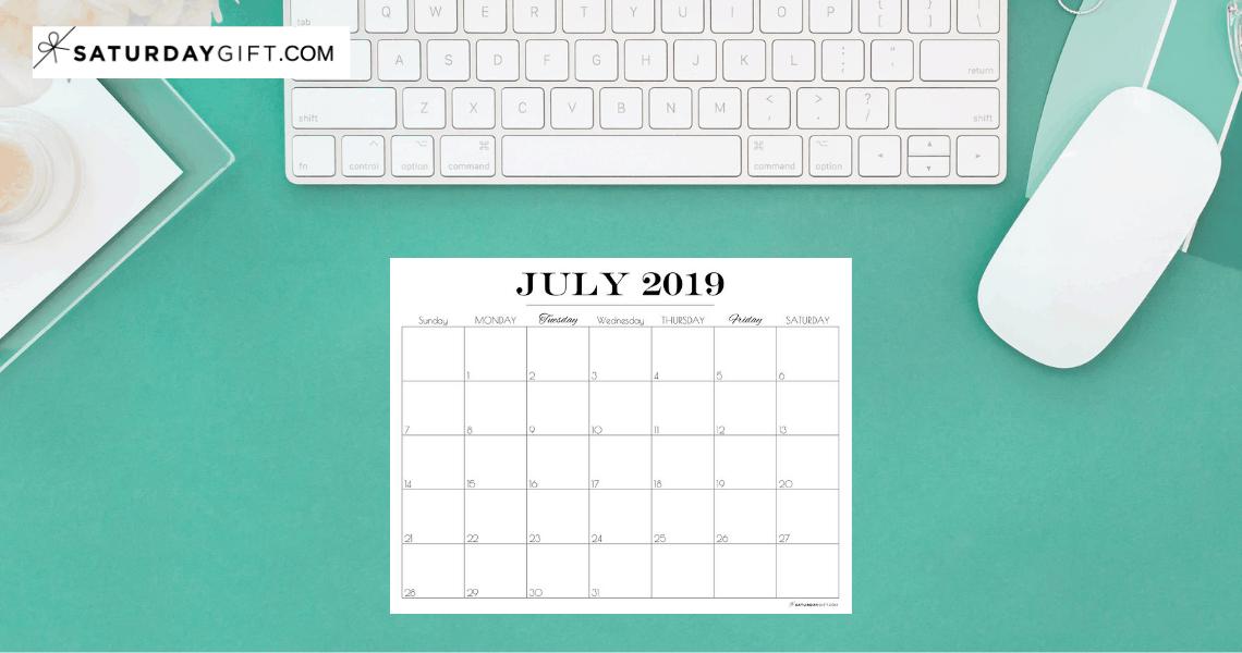 Pretty printable July 2019 Blank Calendar Vertical & horizontal Sunday Start Monday start Dated {Free Printables} | SaturdayGift