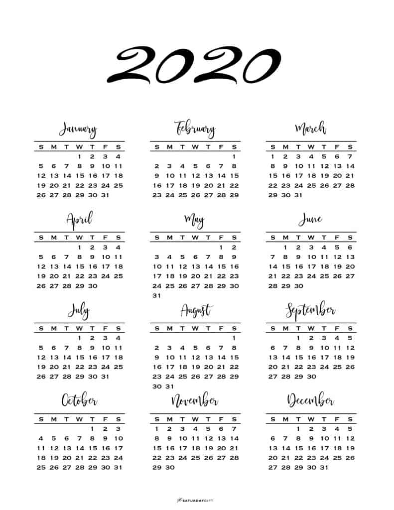 photograph regarding Free Printable 2020 Calendar titled Minimum amount A single Web page Calendar for 2019 2020 No cost Printables