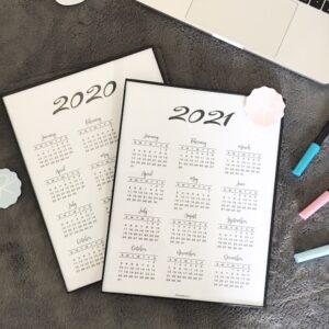 Minimal Year at a glance calendar 2020 & 2021