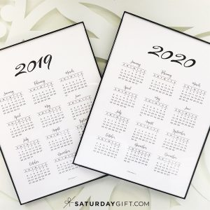 Minimal one page calendar 2019 & 2020 - free printables | Pretty printable | Planner sheet | Planning & Organizing | Wall art | Personal Development | 2019 Calendar | 2020 calendar | Black & white calendar | Minimalistic & simple | SaturdayGift | Saturday gift #SaturdayGift