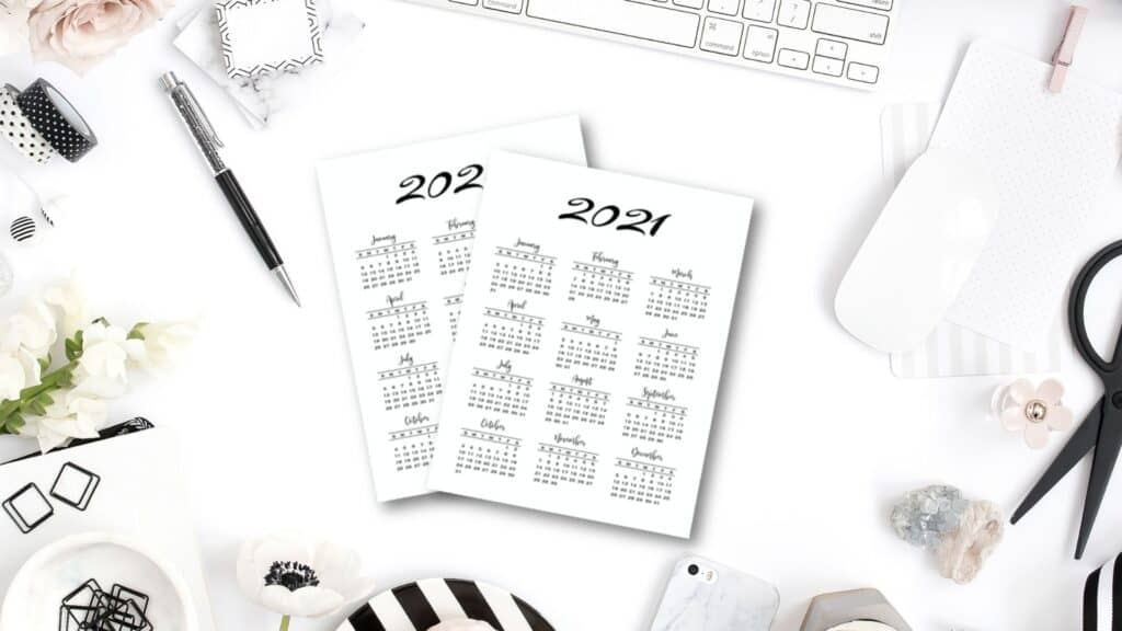 Minimal Year at a glance calendar 2020 & 2021