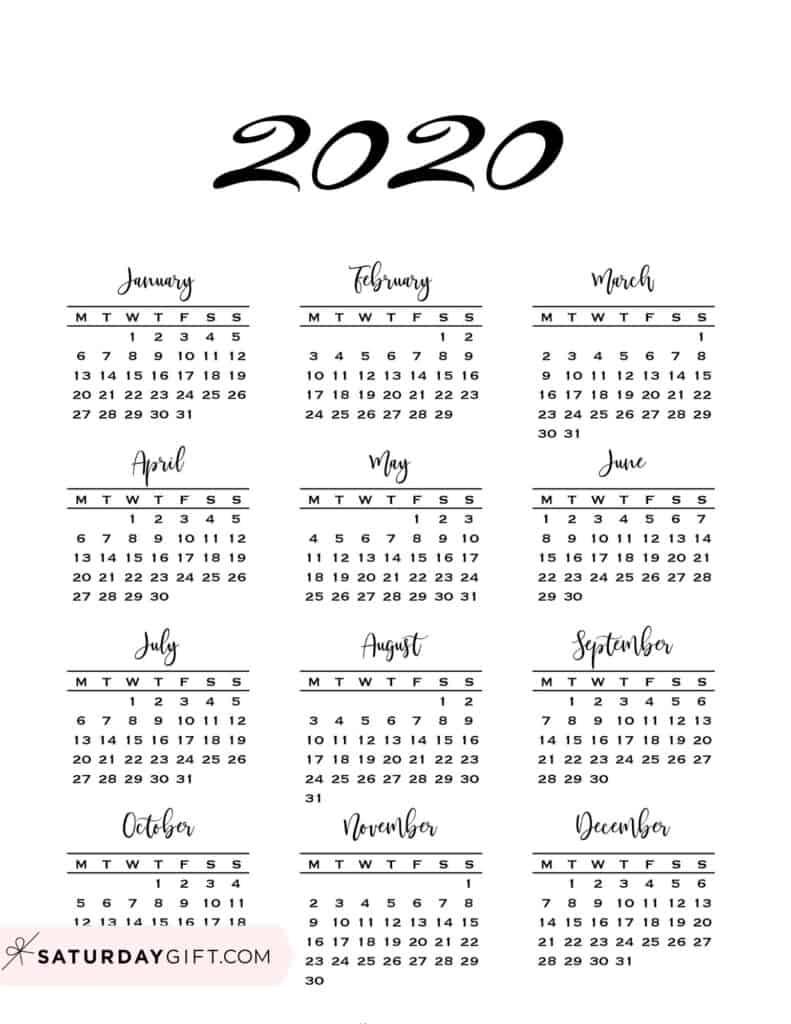 Minimal one page year at a glance calendar 2020 Monday Start | SaturdayGift