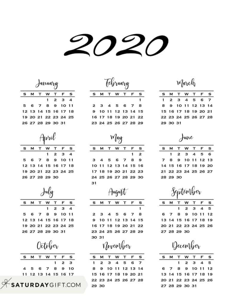Minimal one page year at a glance calendar 2020 Sunday Start | SaturdayGift