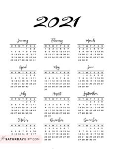 Minimal one page year at a glance calendar 2021 Monday Start | SaturdayGift