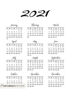 Minimal one page year at a glance calendar 2021 Sunday Start   SaturdayGift