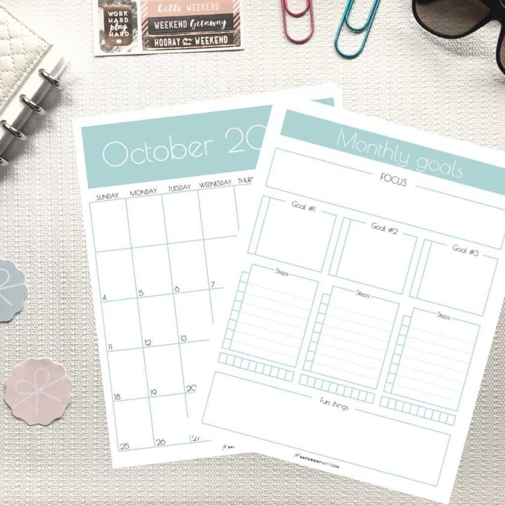 Goals worksheets to achieve your mini-goals each month