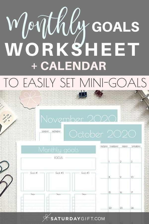 Achieve your monthly goals template Pinterest Image