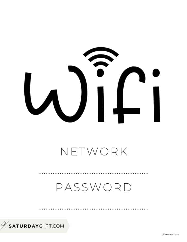 Office wifi sign - cute and minimal black and white wifi sign for office   SaturdayGift