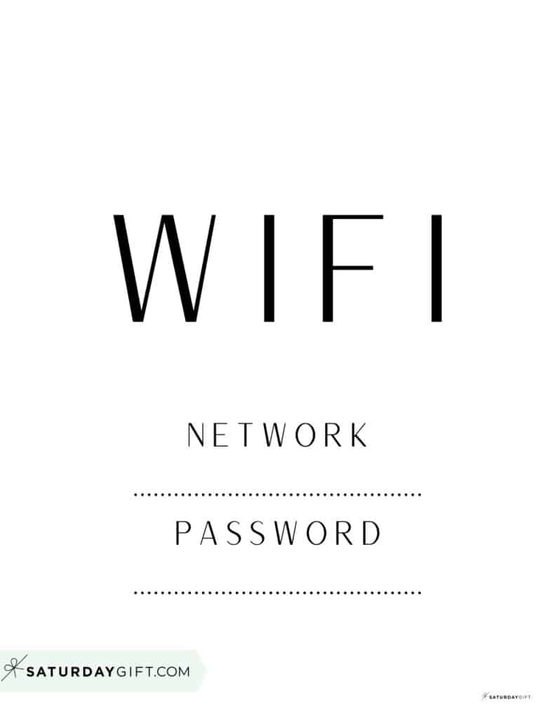 Office wifi sign - simple and minimal black and white wifi sign for office   SaturdayGift