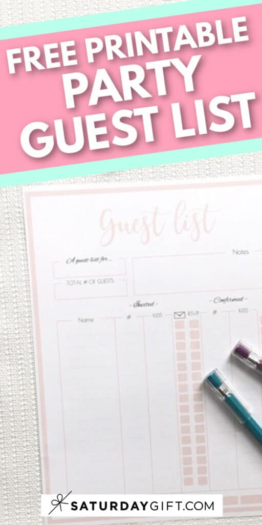 Pretty printable party guest list planner template {Free printables}