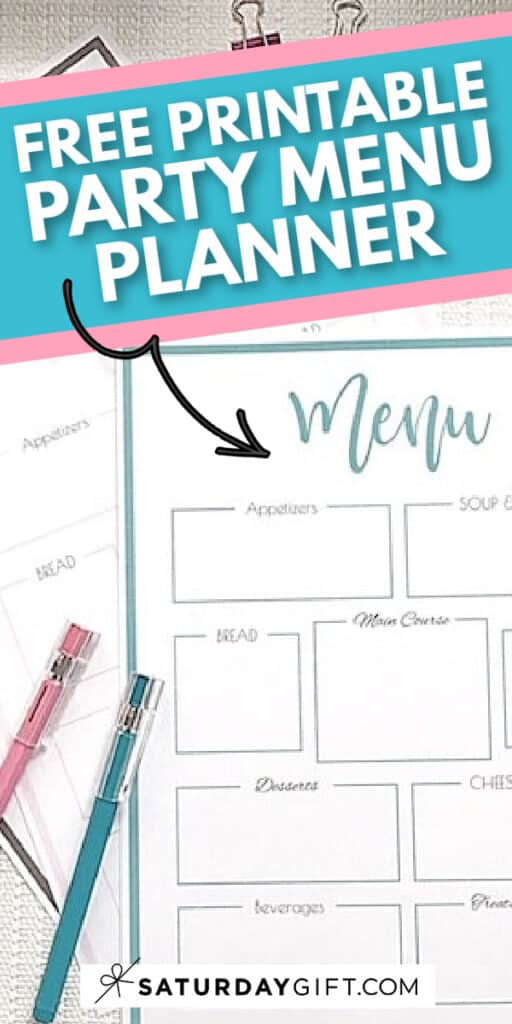 Printable party menu planner template