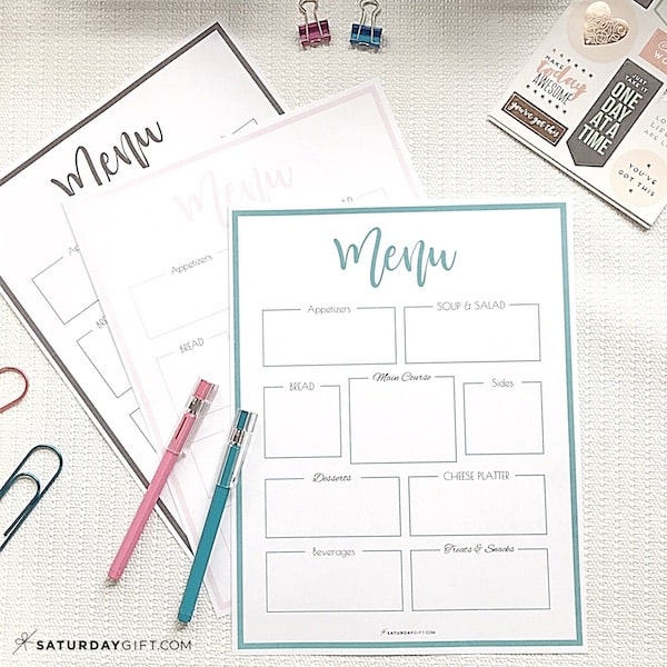 Printable menu template {Free printables} + step by step instructions on how to plan a successful party. Simplify your party planning so that you can be organized, productive and stress-free. Printable planner. Checklist. Party planning printable series - part 3. | SaturdayGift | Saturday gift #SaturdayGift