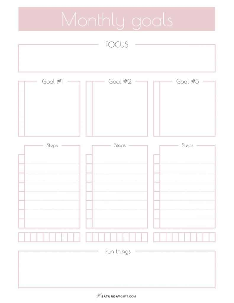 graphic regarding Goals Printable identify Every month Targets Planner Absolutely free Printables SaayGift