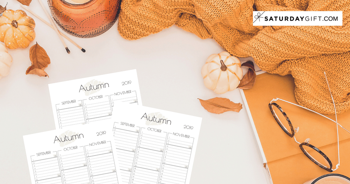 Practical one-page autumn planner sheet / calendar view for September, October & November {Free printable planner sheet} 2019 Beige | US Letter | Resize to fit any planner | Pretty printable | Planner insert | Planning & Organizing | 2019 Calendar | Minimalistic & simple | SaturdayGift | Saturday gift #SaturdayGift