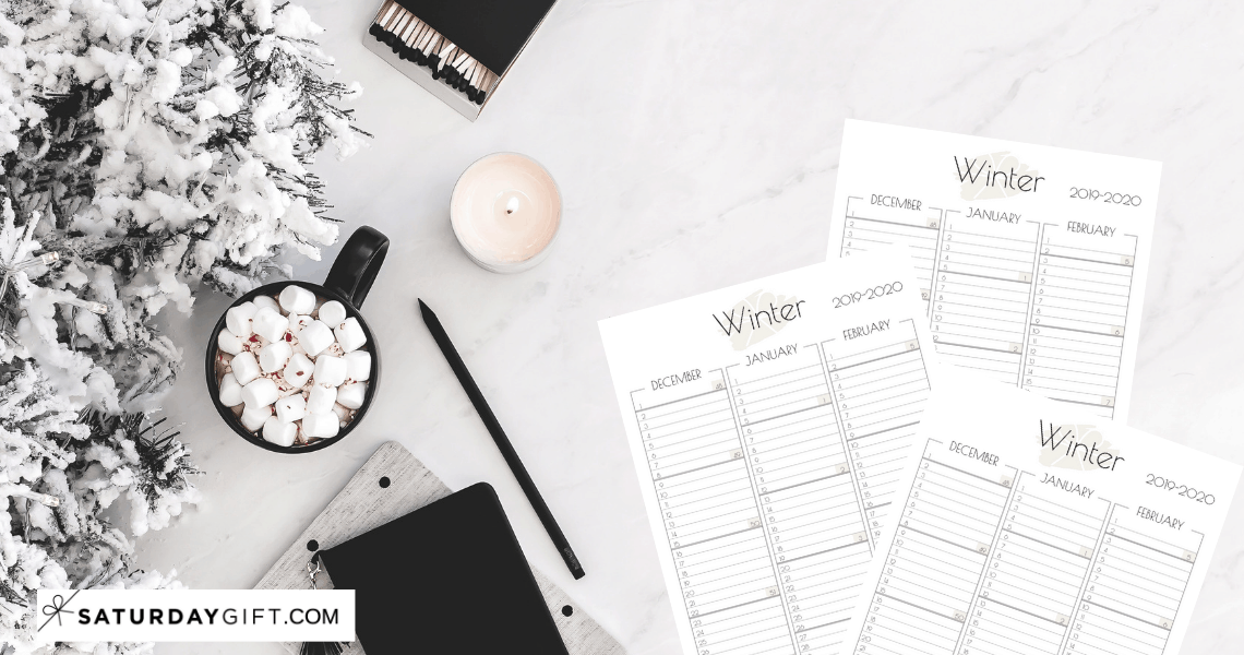 MInimal one-page winter planner sheet / calendar view for December (2019) and January - February (2020) | Free printable planner sheet | Beige | US Letter | Resize to fit any planner | Pretty printable | Planner insert | Planning & Organizing | 2019 Calendar | Minimalistic & simple | SaturdayGift | Saturday gift #SaturdayGift