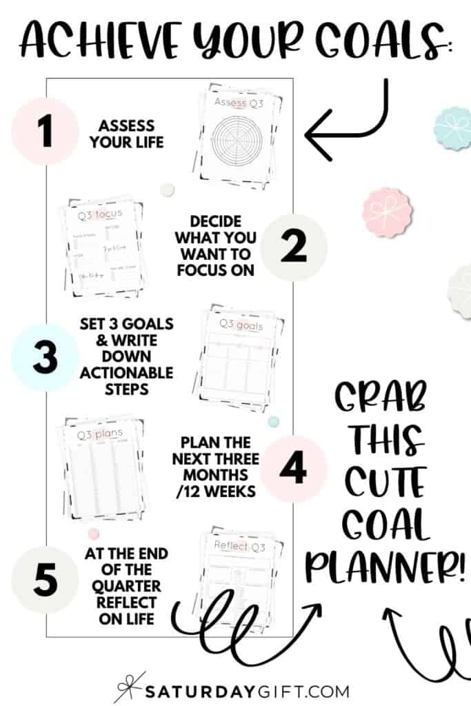 Pretty printable productivity pack for Q3 to set and achieve your goals