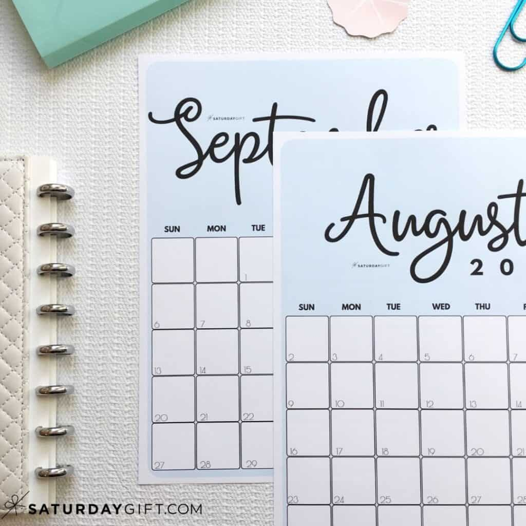 Printable August, September blue calendar by month IMG | SaturdayGift