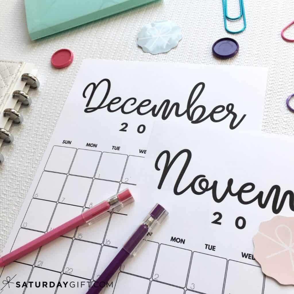 Printable November & December calendar by month IMG | SaturdayGift
