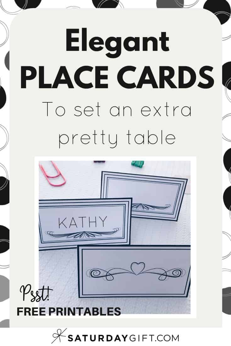 Want to bring some extra something to your dinner party? Super! If you want to show your guests in an elegant way where you\'d like to seat them at your party, print out these place cards, write their names on them and your good to go! #freeprintable #placecards #partyplanning