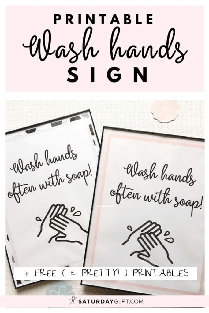 Printable Wash Hands Sign Multiple colors & designs | SaturdayGift