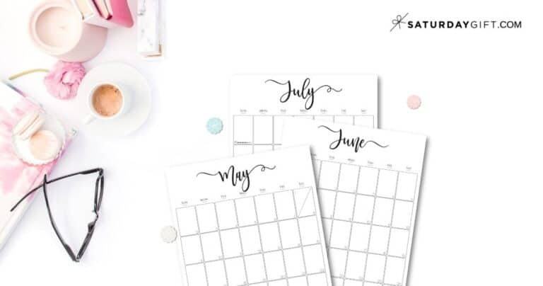 Simple & Elegant Vertical 2021 monthly Calendar – Pretty Printables