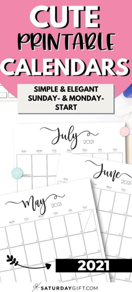Simple & Elegant Printable Vertical 2021 Calendar