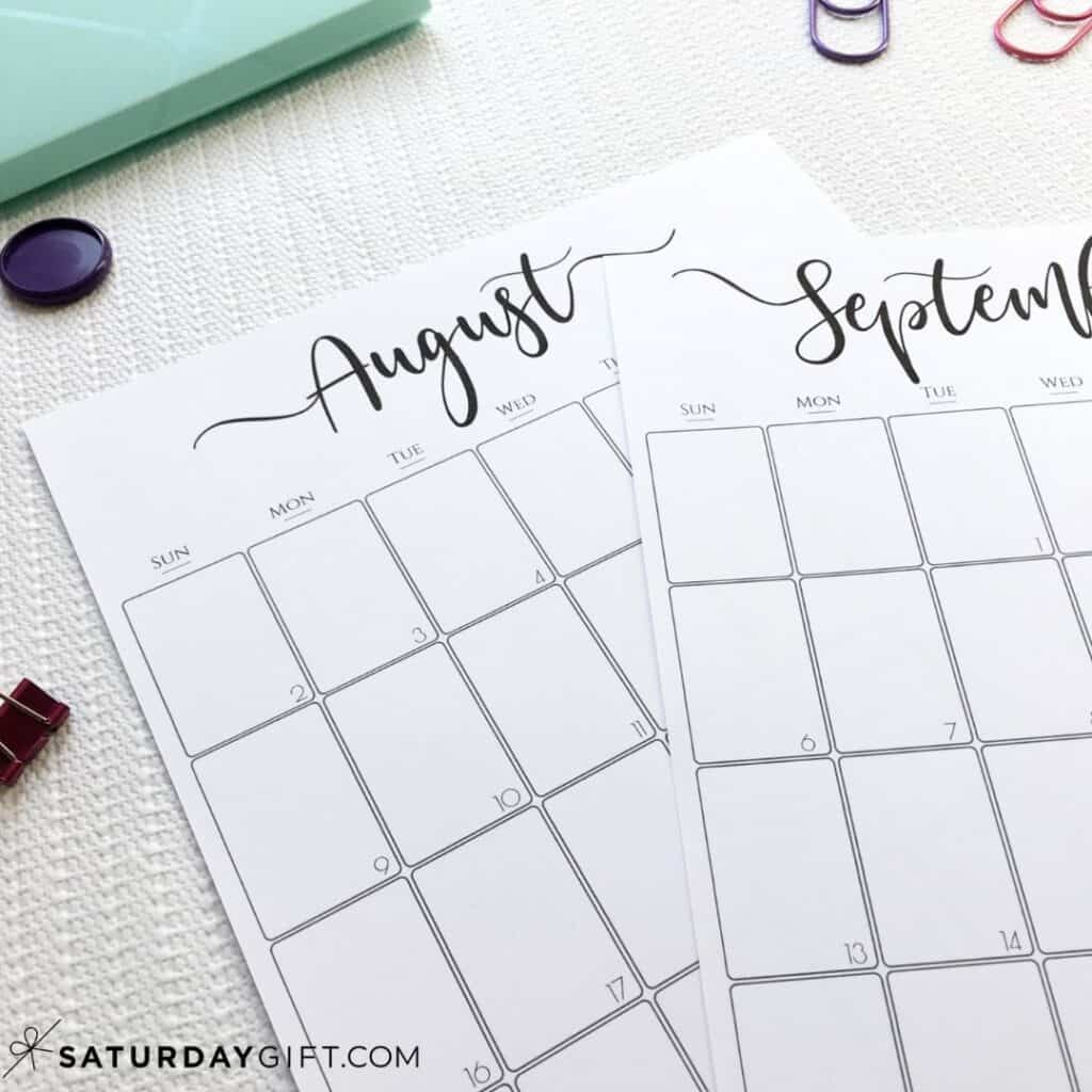 Printable monthly calendar August & September Black & White | SaturdayGift