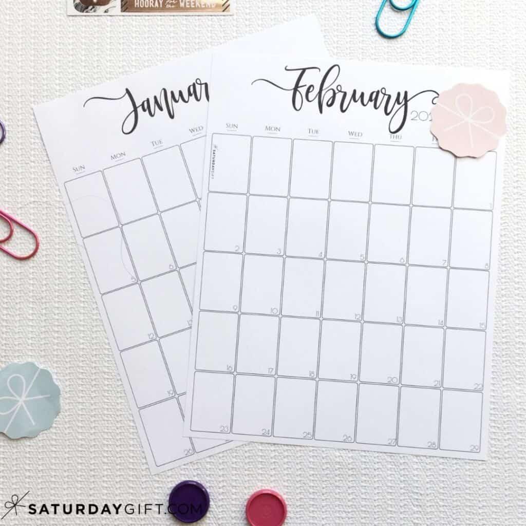 Stylish, black & white monthly calendar January & February Black & White | SaturdayGift