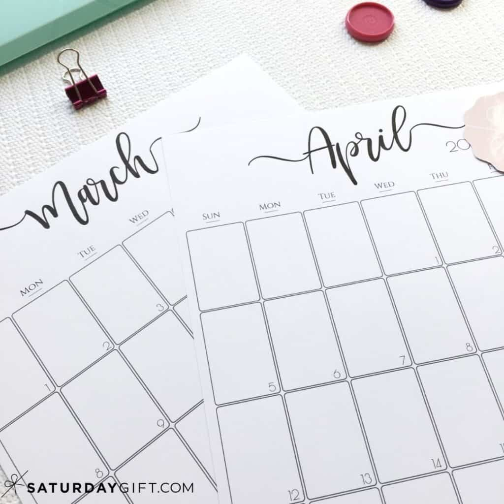 Elegant monthly calendar March and April Black & White | SaturdayGift