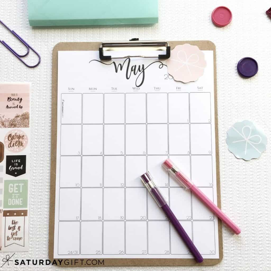 Printable calendar by month for May - Black & White | SaturdayGift