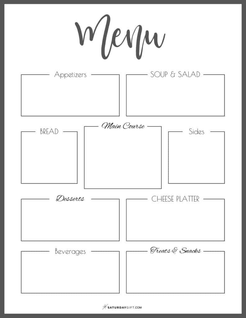 Black & White printable menu template {Free printables}