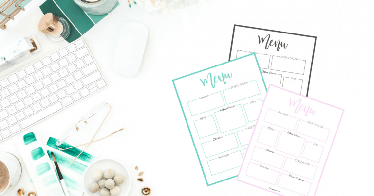 How to Plan the Menu for Your Party + Pretty Printable Menu Planner