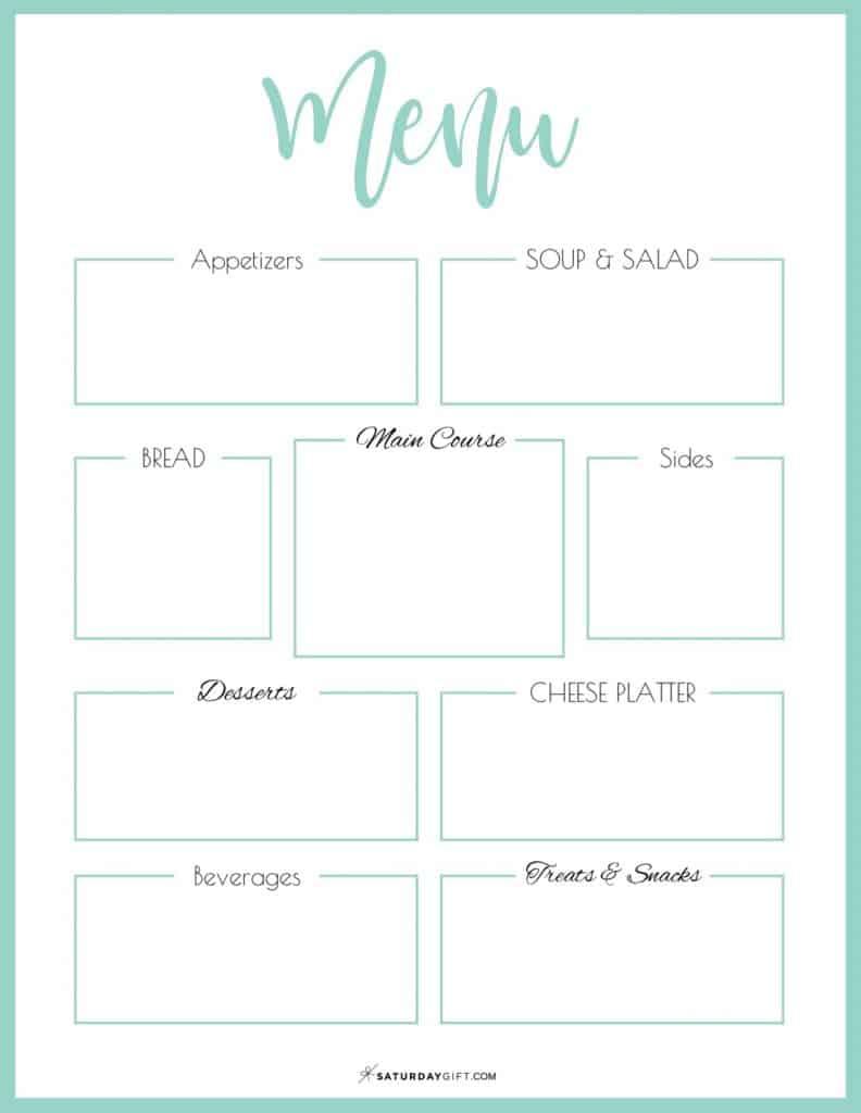 Green printable menu template {Free printables}
