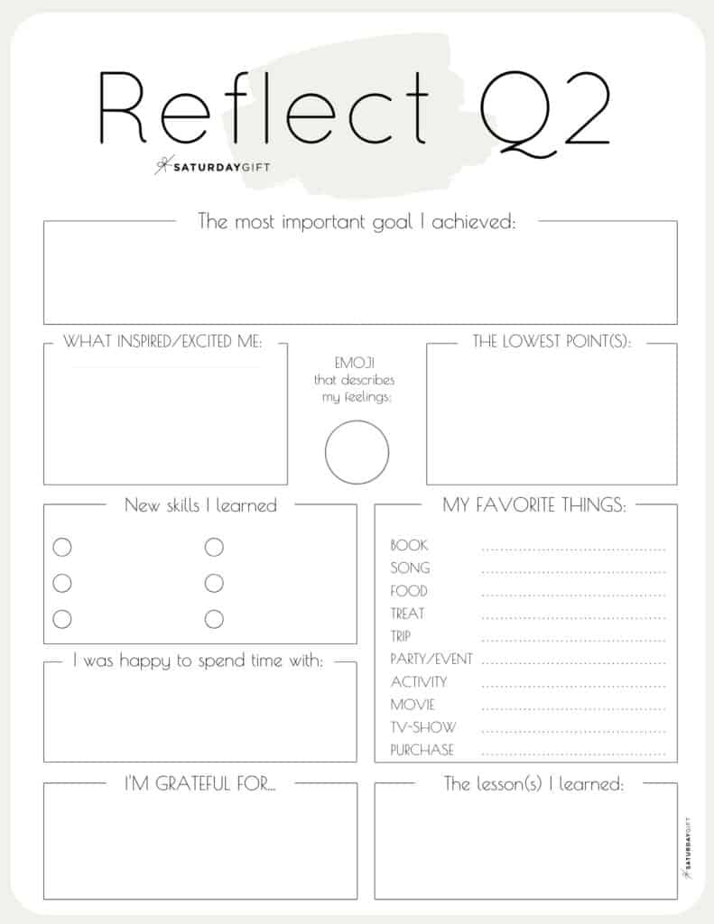 Q2 - Review your life with the quarter two reflection worksheet {Free Printable} beige | SaturdayGift
