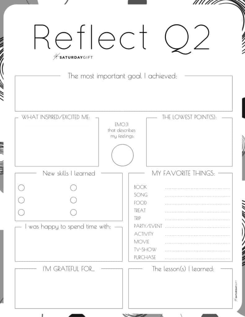 Q2 - Review your life with the quarter two reflection worksheet {Free Printable} black & white | SaturdayGift