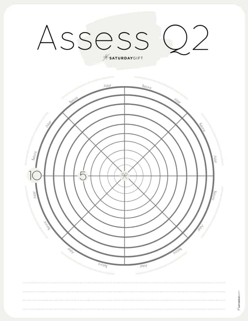 Q2 Wheel - Assess your life with the quarter two wheel of life beige {Free printable worksheet} | SaturdayGift
