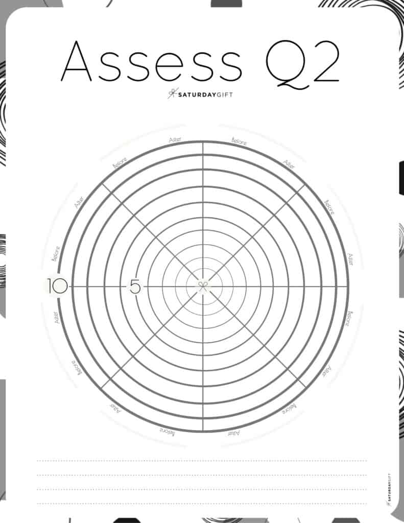 Q2 Wheel - Assess your life with the quarter two wheel of life black & white {Free printable worksheet} | SaturdayGift