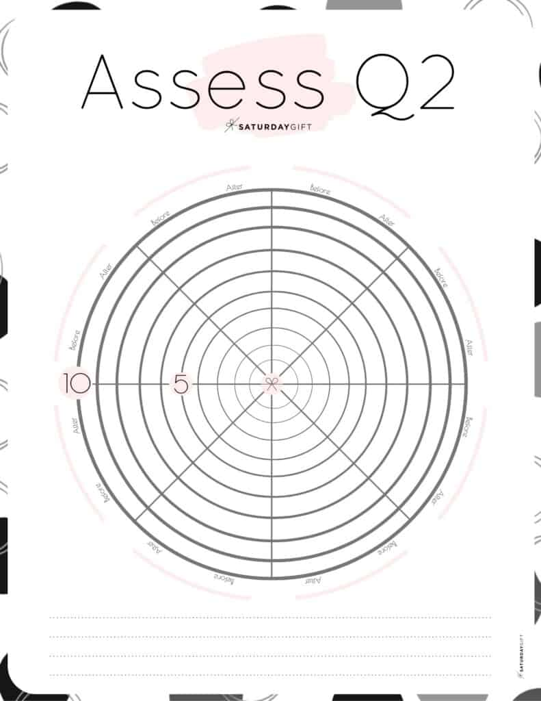 Q2 Wheel - Assess your life with the quarter two wheel of life pink {Free printable worksheet} | SaturdayGift