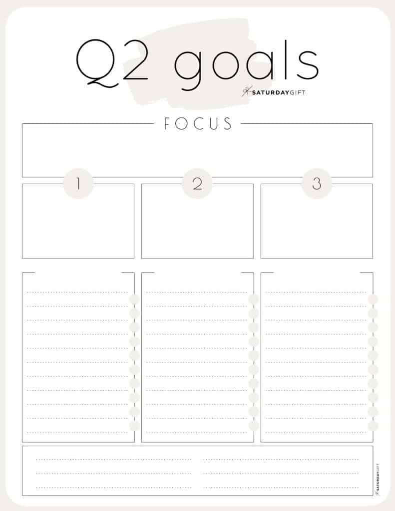 Q2 goals - Set and achieve quarter two goals worksheet {Free Printable} beige | SaturdayGift