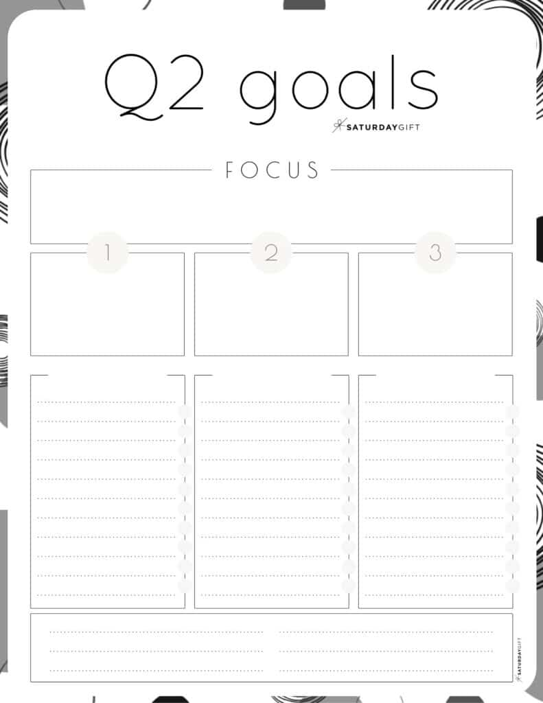 Q2 goals - Set and achieve quarter two goals worksheet {Free Printable} black & white | SaturdayGift