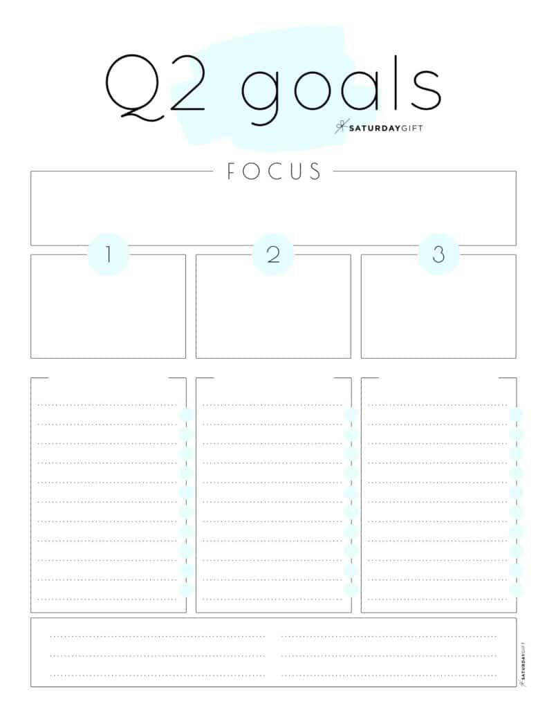 Q2 goals - Set and achieve quarter two goals worksheet {Free Printable} blue | SaturdayGift