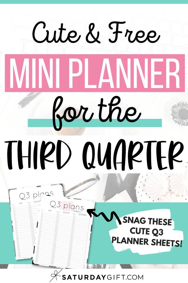 Q3 calendar: Quarter three planner for July, August and September Pinterest Image