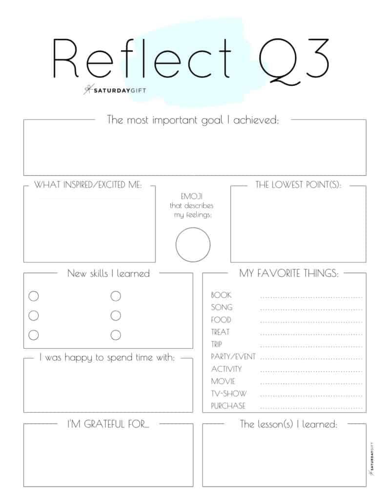 Blue printable reflection worksheet