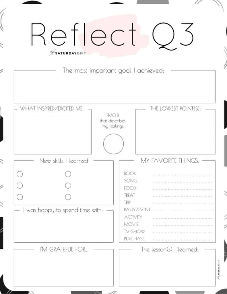 Pink printable reflection worksheet