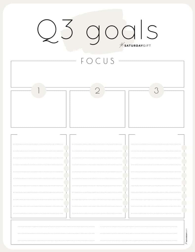 Beige Q3 goals worksheet {Free Printable}