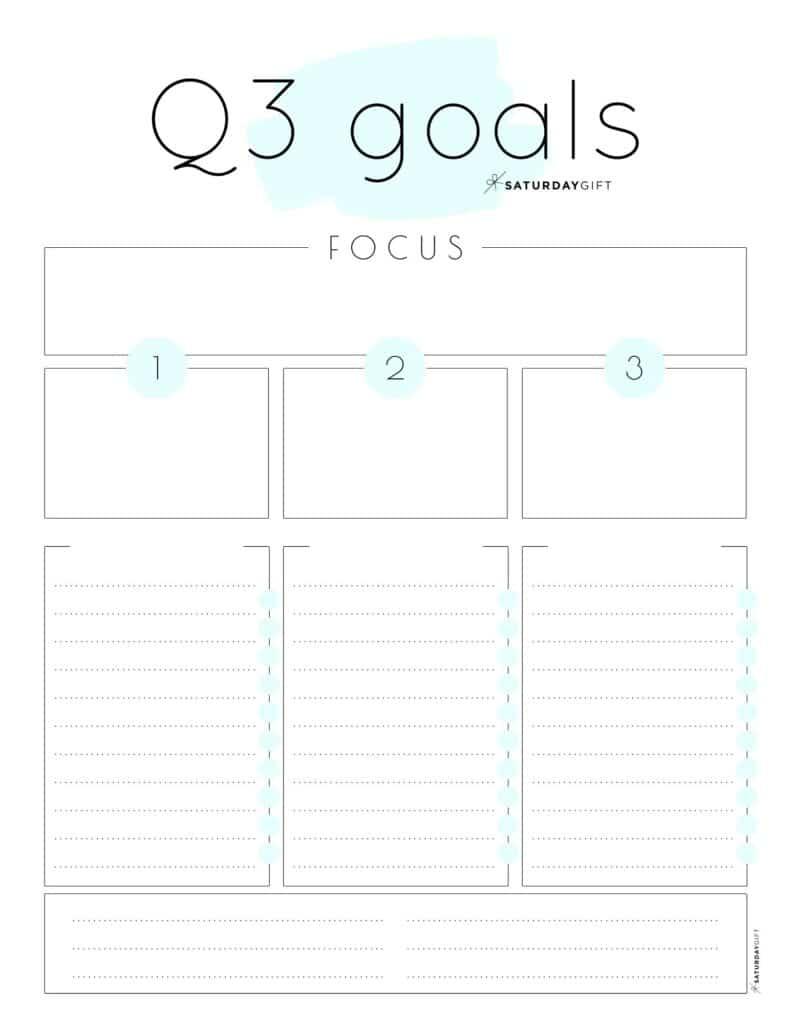 Blue Q3 goals worksheet {Free Printable}