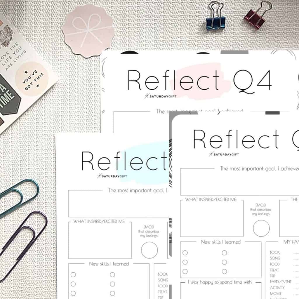 Pink, blue and black & white printable Q4 reflection worksheets