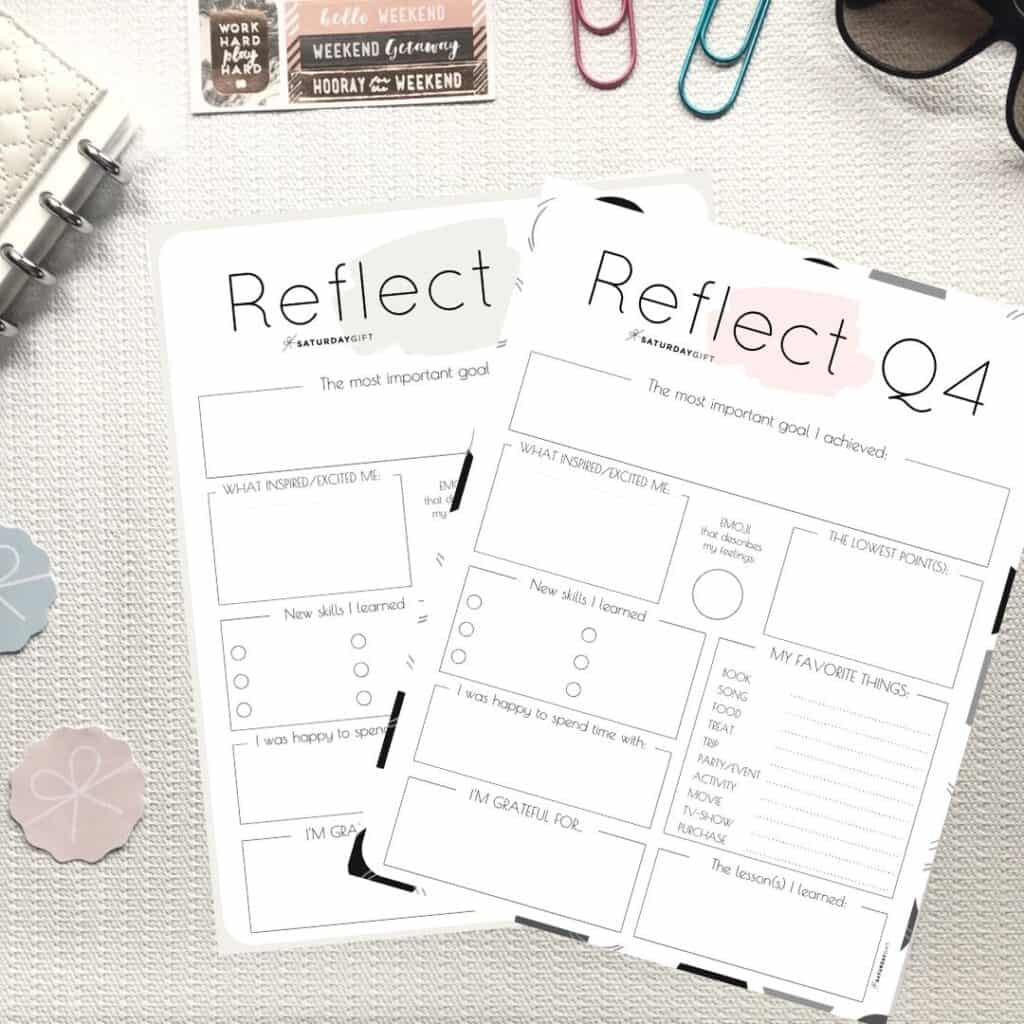 Pink and beige printable Q4 reflection worksheets