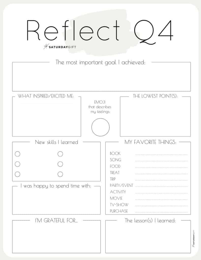 Beige printable reflection worksheet for Q4